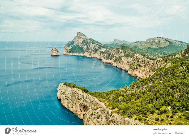 Cap Formentor Himmel Natur Sommer Meer Landschaft Wolken Ferne Berge u. Gebirge Freiheit Küste Felsen Horizont Idylle Tourismus Insel hoch
