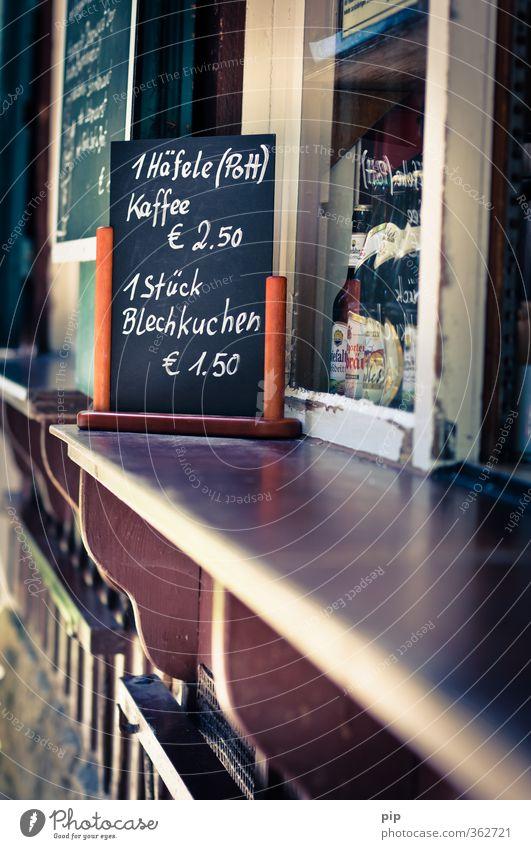 kaffeele Kuchen Kaffee Bier Tasse Flasche Erholung Essen trinken braun Schilder & Markierungen Theke Imbiss Straßencafé Speisetafel Preisschild schwäbisch