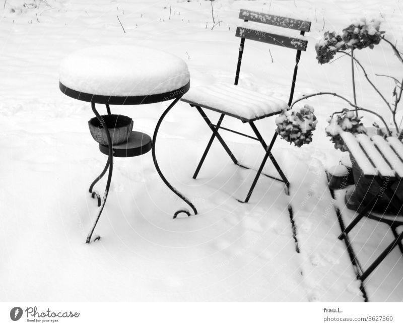 Es hatte sie kalt erwischt - nun standen die Gartenmöbel im Schnee. Winter Tisch Stuhl Einsamkeit Menschenleer Hinterhof Hortensie