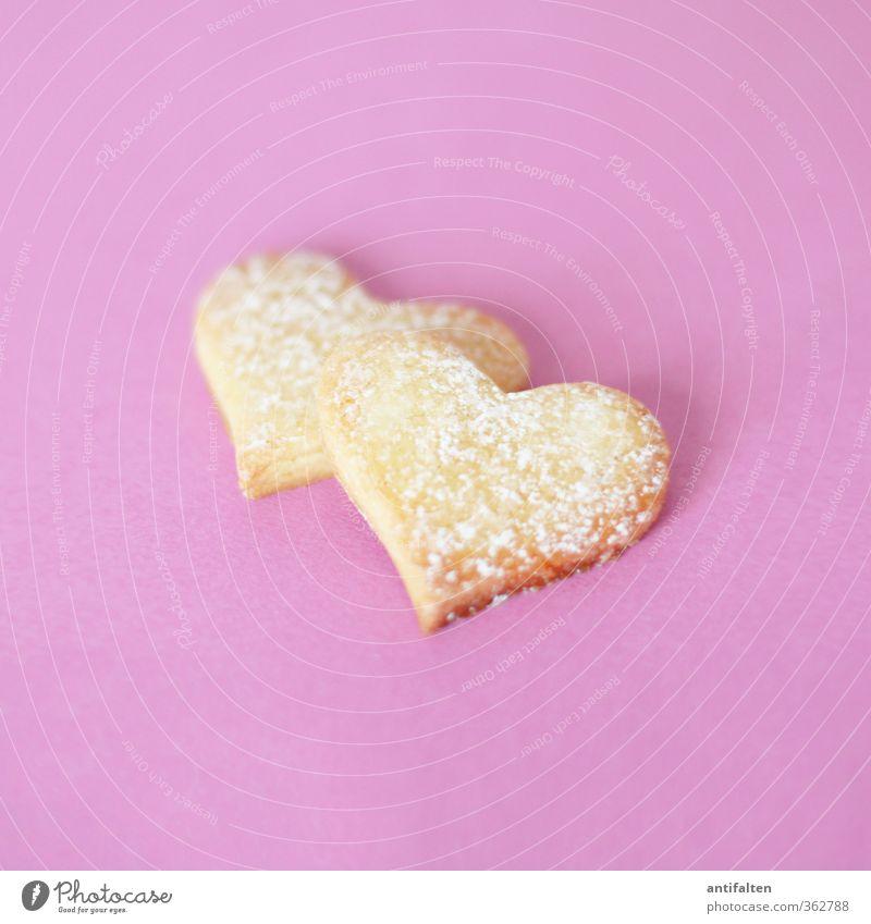 Doppelherz Teigwaren Backwaren Plätzchen Puderzucker Ernährung Geschenk Zeichen Herz Backform Duft Gesundheit lecker positiv schön violett rosa Gefühle Glück