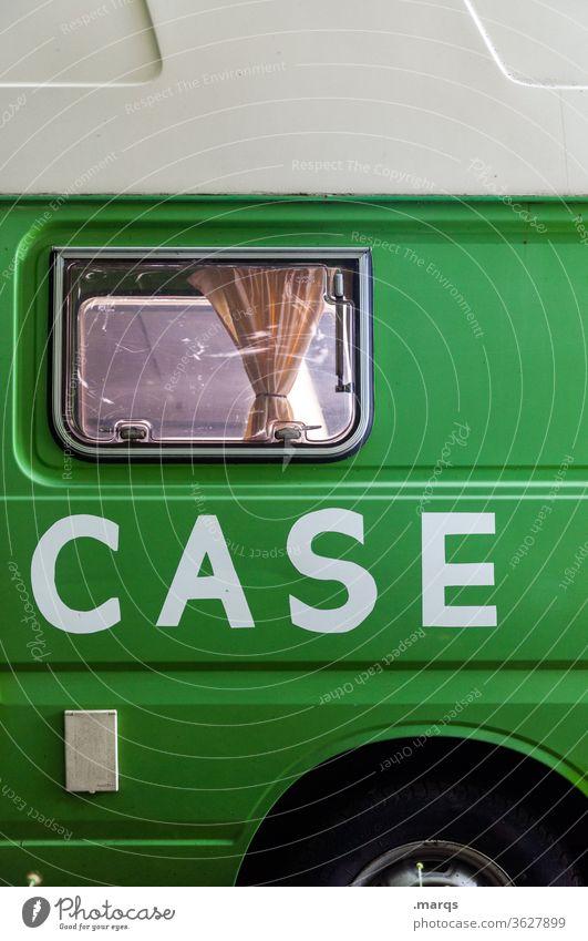 Topcase Bus Wohnmobil reisen Typographie grün weiß Fenster Mobilität Individualität Freizeit & Hobby Freiheit Camping