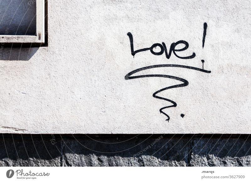 Love! Liebe Typographie Graffiti schwarz weiß Wand positiv