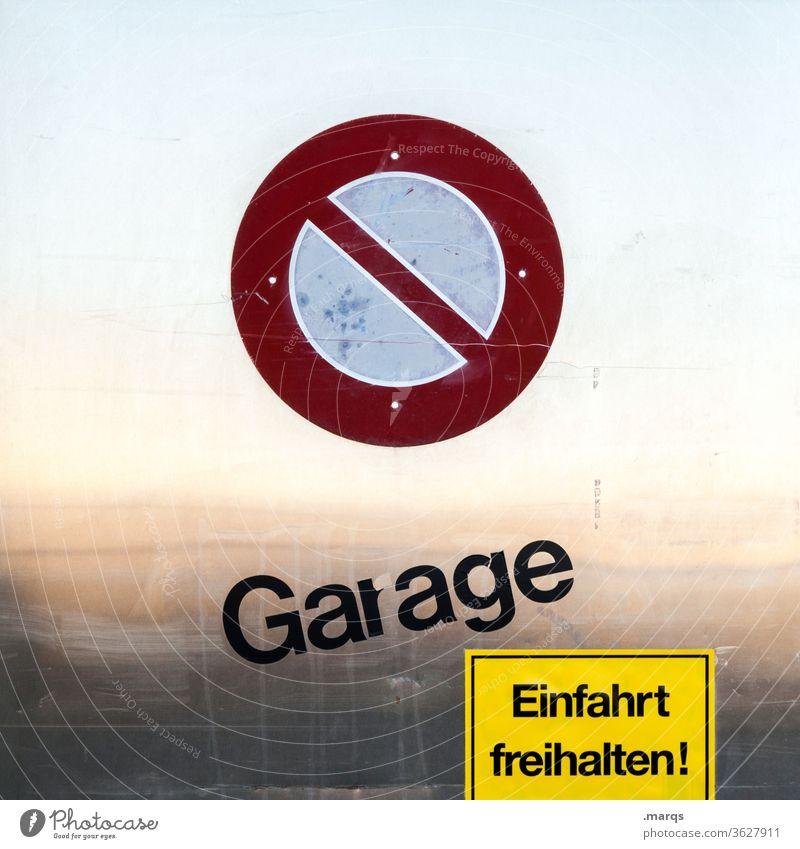 Garage - Einfahrt freihalten! Metall einfahrt freihalten Schriftzeichen Hinweisschild Halteverbotsschild StVO Reflexion & Spiegelung Verkehrszeichen