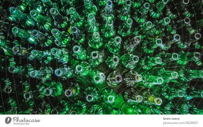 Voller Rahmen mit leeren grünen Apfelweinflaschen Flasche wiederverwendbare Flasche voller Rahmen Apfelwein-Glas Flasche Apfelwein sidre Kristalle Asturien