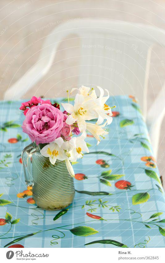 Noch mehr Blümchen Stuhl Tisch Blühend authentisch hell blau mehrfarbig rosa rot ruhig Tischwäsche Glaskrug Vase Plastikstuhl Terrasse Rose Lilien Farbfoto
