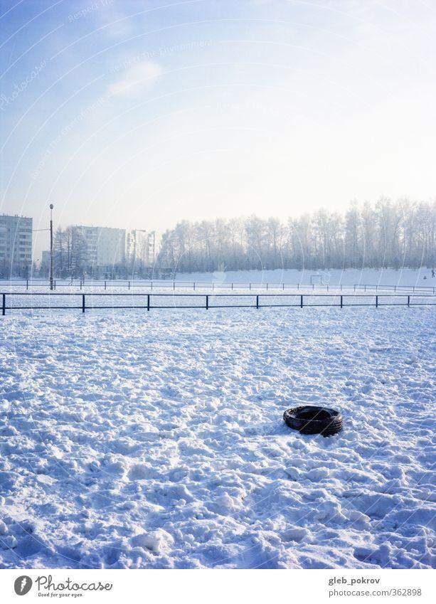 Doc# Frosty Landschaft Wasser Himmel Sonnenlicht Winter Klimawandel Schönes Wetter Eis Schnee Baum Park Stadt Altstadt kalt blau gelb weiß Farbfoto