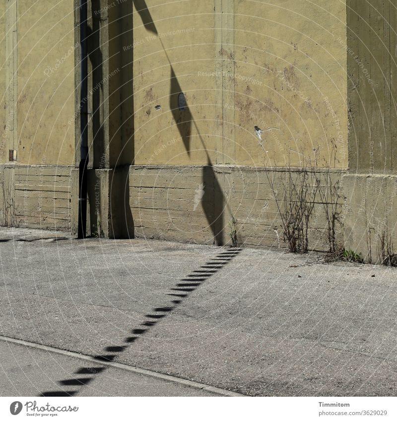 Altes Industriegebäude mit Straße und heiterem Wimpelschatten alt Wand Schatten Wimpelkette Asphalt Fahne Linien Beton Pflanzen vertrocknet