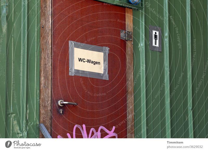 Tür WC-Wagen Schild sanitär Symbole & Metaphern Mann Toilette Menschenleer Klo geschlossen