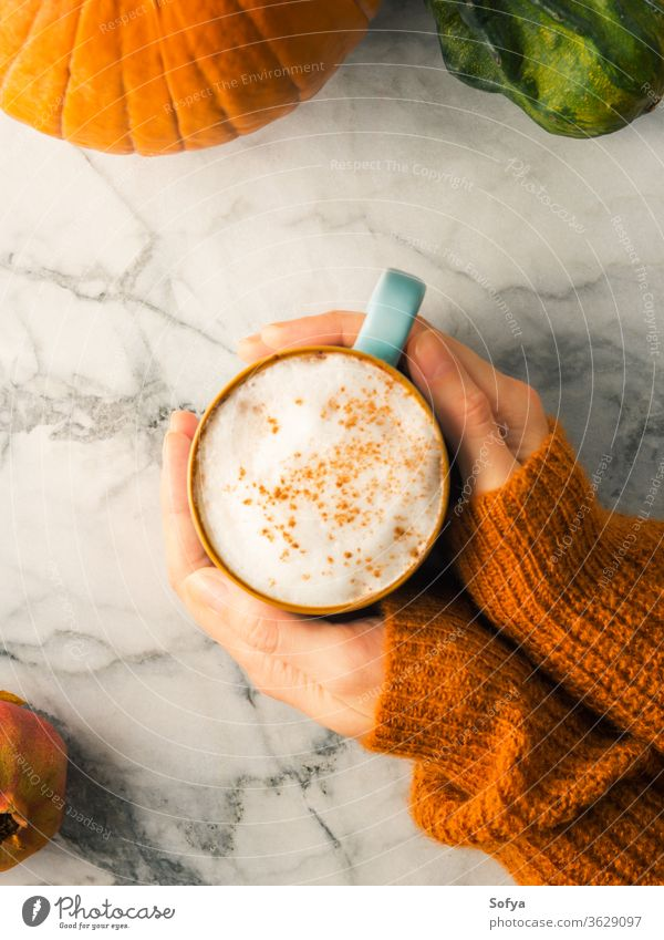 Herbstliches Flachlegen mit Becher Latte-Kaffee Hände Pullover orange Weihnachten Frau Lebensmittel Winter Murmel oben Licht melken Stimmung Morgen Oktober