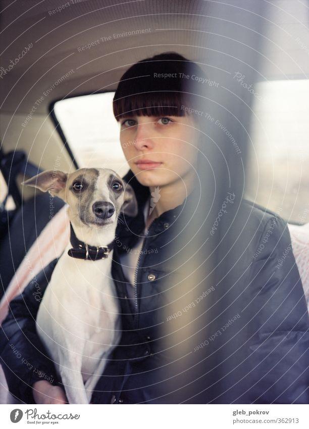 Autoporträt Lifestyle Stil Mensch Junge Frau Jugendliche Kopf Haare & Frisuren Brust Frauenbrust 1 18-30 Jahre Erwachsene PKW Haustier Hund Tiergesicht Blick