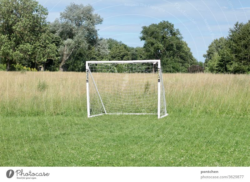 Ein weißes Fußballtor auf einer Wiese an einem Feld. Freizeitsport freizeitsport fußball netz wiese Sport Fußballplatz Freizeit & Hobby Sportstätten Draußen