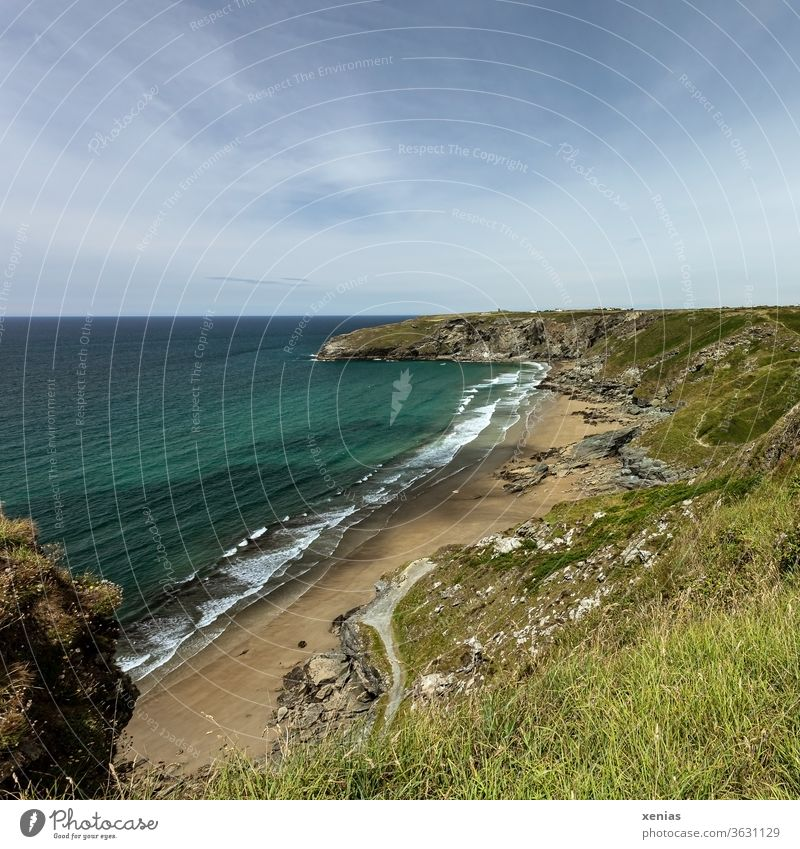 Trebarwith beach in Cornwall bei schönem Wetter im Sommer Strand Küste Wasser Ferien & Urlaub & Reisen grün blau Panorama (Aussicht) Landschaft Natur Meer