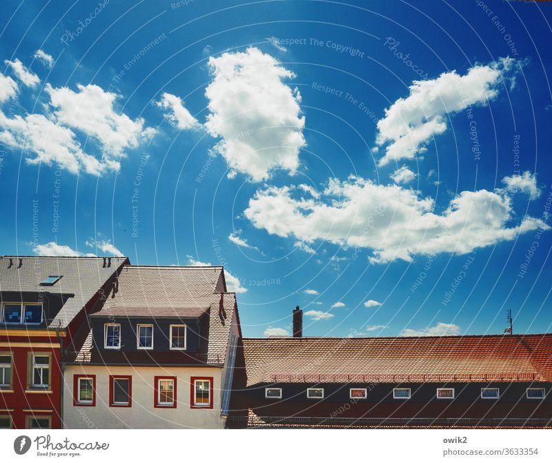 Häuserzeile Fassade Fenster Farbfoto Außenaufnahme Menschenleer Sonnenlicht Licht Tag Textfreiraum oben Textfreiraum rechts Textfreiraum links Häusliches Leben