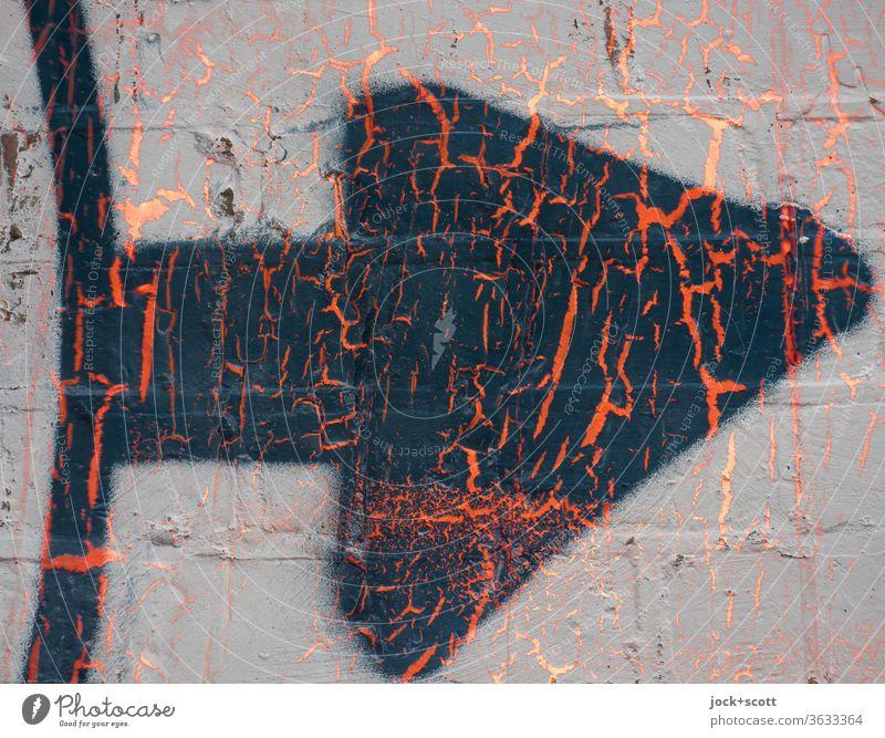 Pfeil jetzt rechts Straßenkunst abstrakt Oberflächenstruktur Hintergrundbild Farbenspiel Kreativität Strukturen & Formen Stil Doppelbelichtung Spray Graffiti