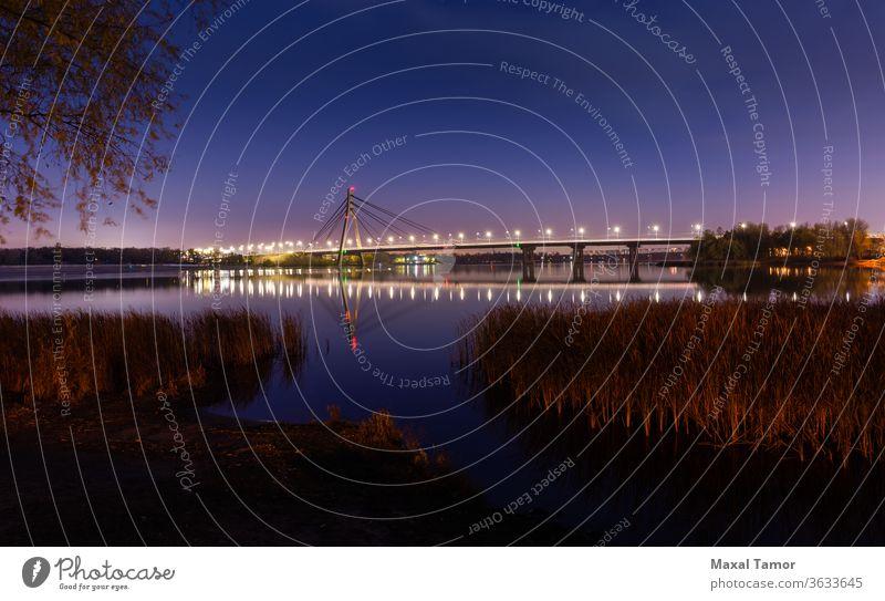 Blick auf die Pivnichnyi-Brücke über den Dnjepr in Kiew, Ukraine Dnjepr Fluss kyiv Typha Latifolia Herbst Schönheit blau Blaue Stunde hell bulrush Windstille