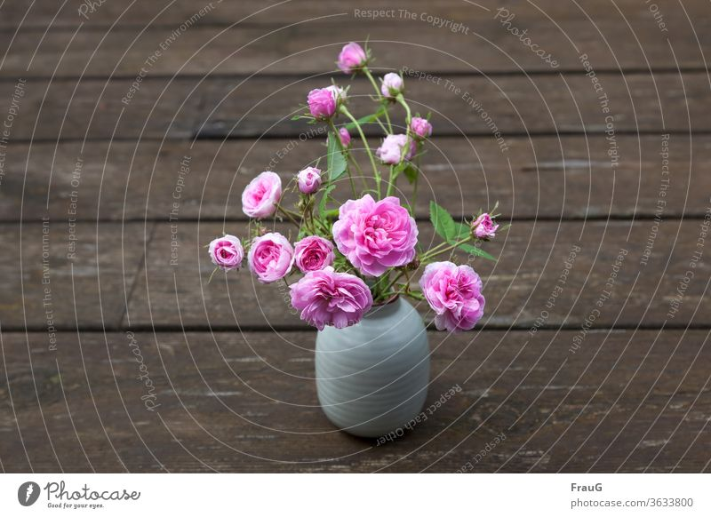Röschen Blumenstrauß Vase mit Blumen Blüten und Knospen Rosenblüte Damaszener-Rose alte Rose rosa Holz Bohlen verwittertes Holz Frühling Nahaufnahme