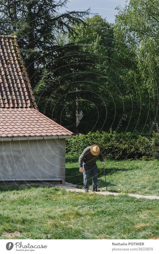 Alter gewölbter Mann mit Hut und Stock auf einem Pfad alter Mann Rohr Garten Weg Haus Gras grün Außenaufnahme Mensch Männlicher Senior Erwachsene Natur maskulin