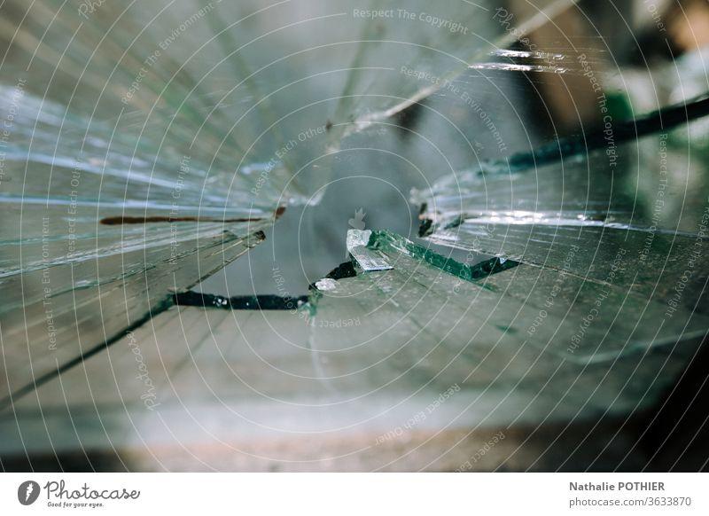 Glasscherben zerbrochenes Glas Glasfragmente Splitter gebrochen Außenaufnahme Vandalismus Nahaufnahme Detailaufnahme Fenster Farbfoto Zerstörung durchsichtig