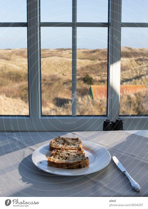 Rosinenstuten auf Juist Urlaub Nordsee Dünen Ausblick Fensterblick Ruhe Entspannung Frühstück Nebensaison Morgenstimmung Nordseeinsel salzige Luft