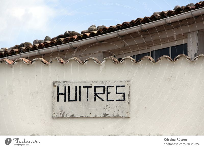 huitres - handgemaltes schild am austernverkauf werbung reklame hinweis austernbar austernhütte direktverkauf austernmarkt fischmarkt laden geschäft verkaufen
