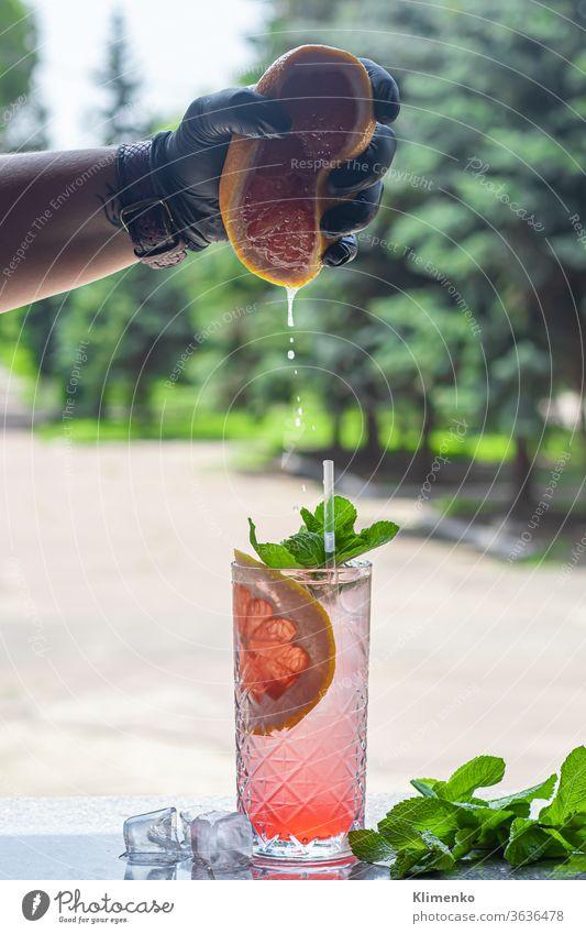 Ein erfrischender Sommer-Cocktail mit einer Scheibe Grapefruit. Alkoholisches Getränk Paloma. Dekoriert mit einem Zweig Minze und Eiswürfeln. Aperitif erwärmen