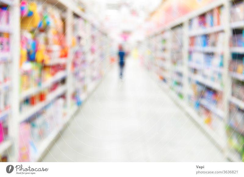 Marktgeschäft und Supermarktinterieur Werkstatt Unschärfe Hintergrund Innenbereich Laden Lebensmittelgeschäft Menschen Kunde Regal Einzelhandel kaufen Kaufhof
