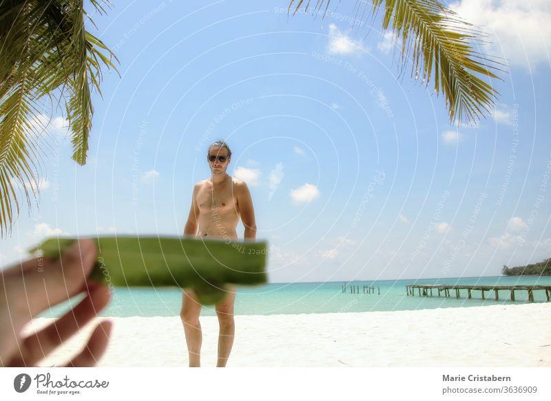 Humorvoller und lustiger Sommer-Fotourlaub am Soksan-Strand in Koh Kong Samloen Island in Kambodscha einzigartige Reisefotos Sommerspaß und Humor Sommerurlaub