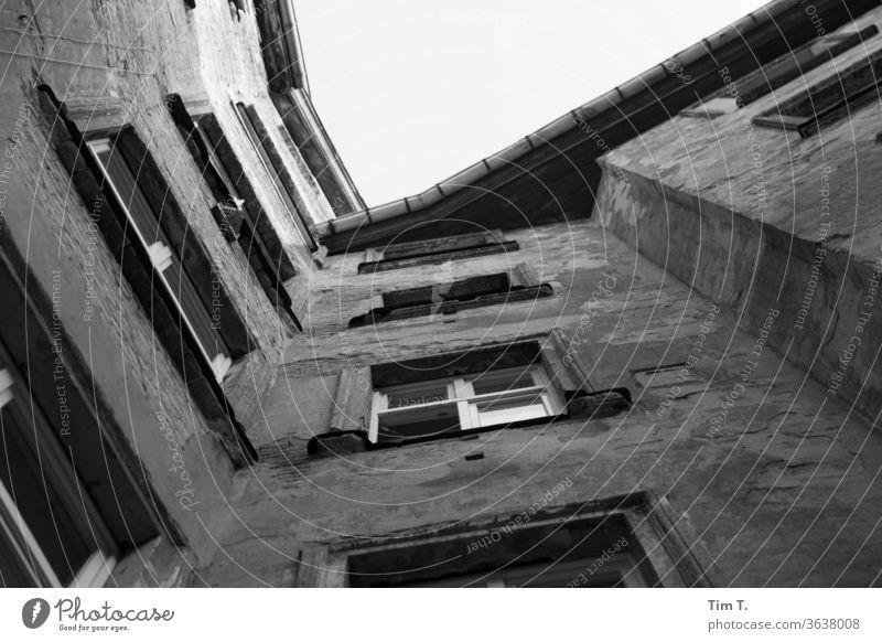 Kommste runter ? Berlin Prenzlauer Berg 2020 Stadt Stadtzentrum Hauptstadt Altstadt Außenaufnahme Tag Menschenleer Fenster Altbau Haus Gebäude Hinterhof