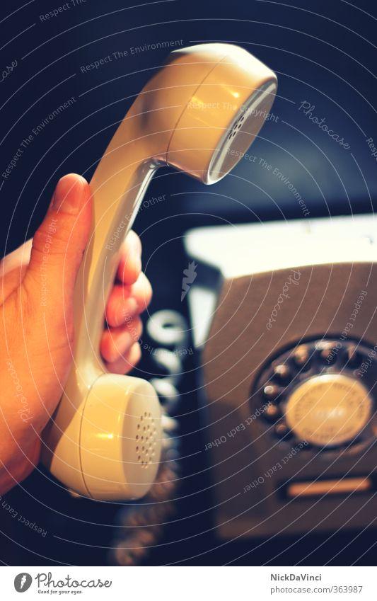 kontakt / telefonieren Telekommunikation Callcenter Business sprechen Telefon Technik & Technologie Medien Diät Telefongespräch retro Kontakt Telefonhörer Hören