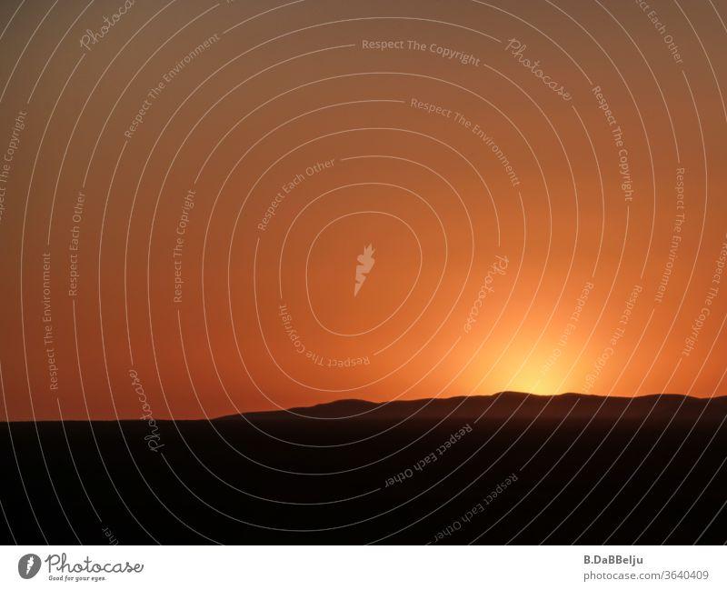 Der Sonnenuntergang färbt den Himmel über dem Etosha Nationalpark (Namibia-Afrika) golden. Sonnenuntergangsstimmung Sonnenuntergangshimmel Außenaufnahme