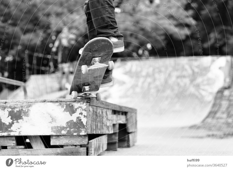 Skateboard gleitet über einen Kante Skateboarding Funsport springen Trick Trick Jump Jugendliche Sport Aktion Lifestyle Schatten Rolle street Licht Stunt