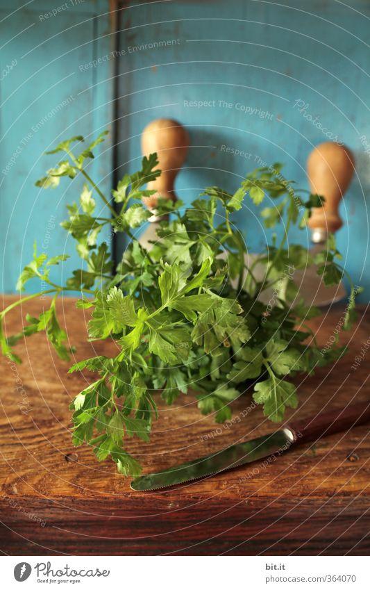 erst Schneiden, dann Hacken blau grün Holz Gesunde Ernährung Gesundheit Lebensmittel Freizeit & Hobby frisch Kochen & Garen & Backen Küche Kräuter & Gewürze