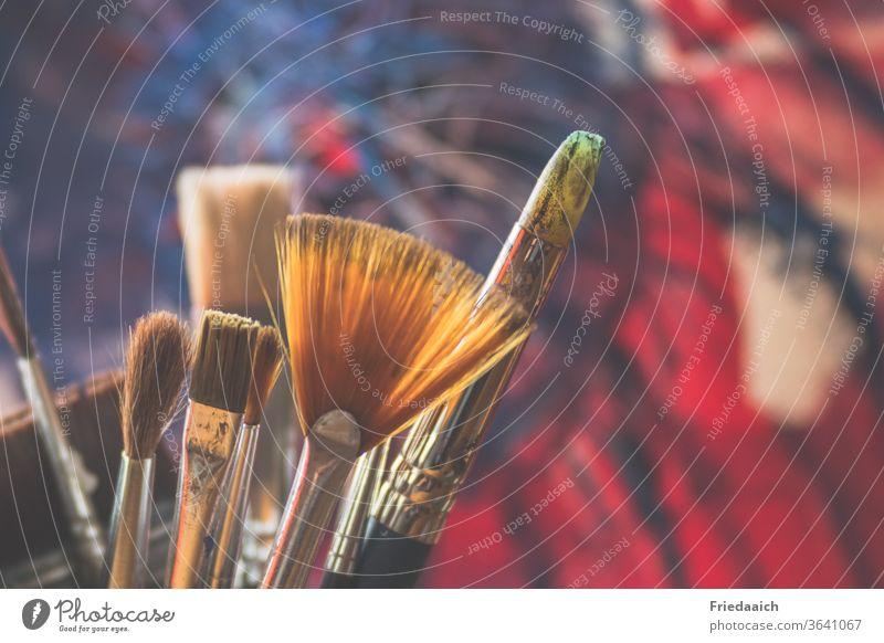 Abstrakte Malerei Pinsel Farbe Kunst mehrfarbig Kreativität Freizeit & Hobby Acryl abstrakt bunt Farbfoto Nahaufnahme Schwache Tiefenschärfe malen Innenaufnahme