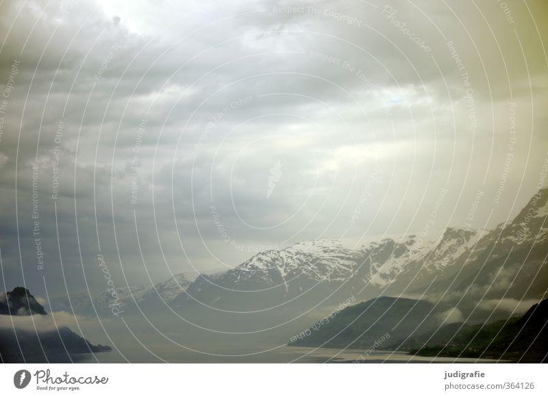 Norwegen Umwelt Natur Landschaft Himmel Wolken Klima Felsen Berge u. Gebirge Schneebedeckte Gipfel Fjord außergewöhnlich dunkel fantastisch kalt natürlich