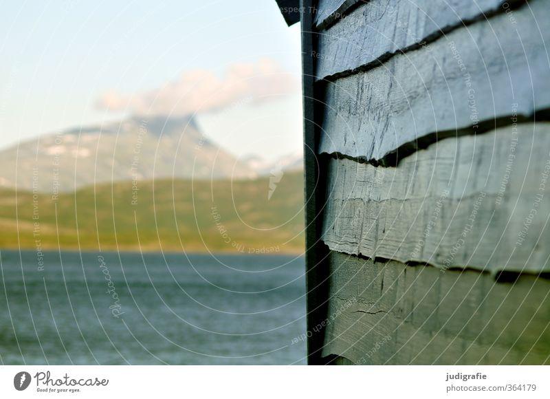 Norwegen Natur blau Wasser Einsamkeit Landschaft Wolken Haus Umwelt Berge u. Gebirge Holz natürlich Fassade Idylle Klima Häusliches Leben Hütte