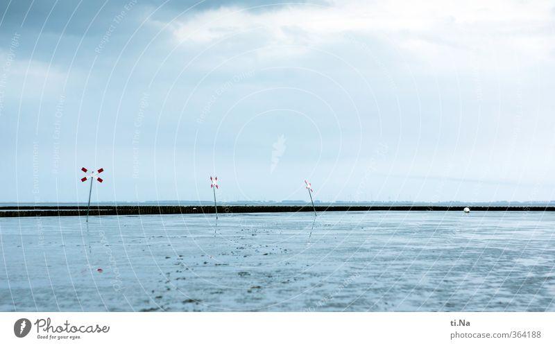 ein Kreuz mit der Ebbe blau Wasser weiß Sommer rot Landschaft Wolken Frühling Küste grau Tourismus Schönes Wetter Unendlichkeit Nordsee türkis Wattenmeer