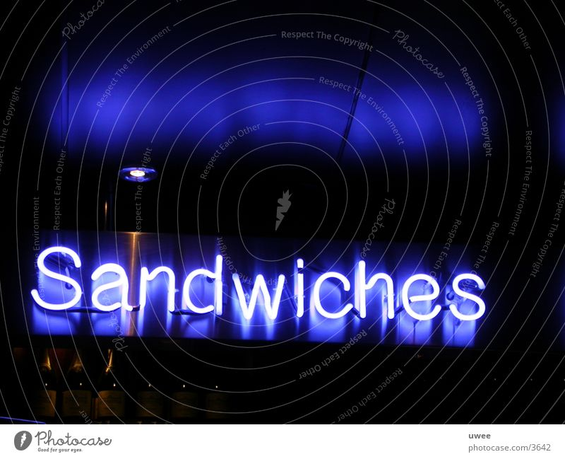 """neon """"sandwiches"""" blau Ernährung Beleuchtung Schriftzeichen Bar Neonlicht Anzeige Text Leuchtreklame Belegtes Brot"""