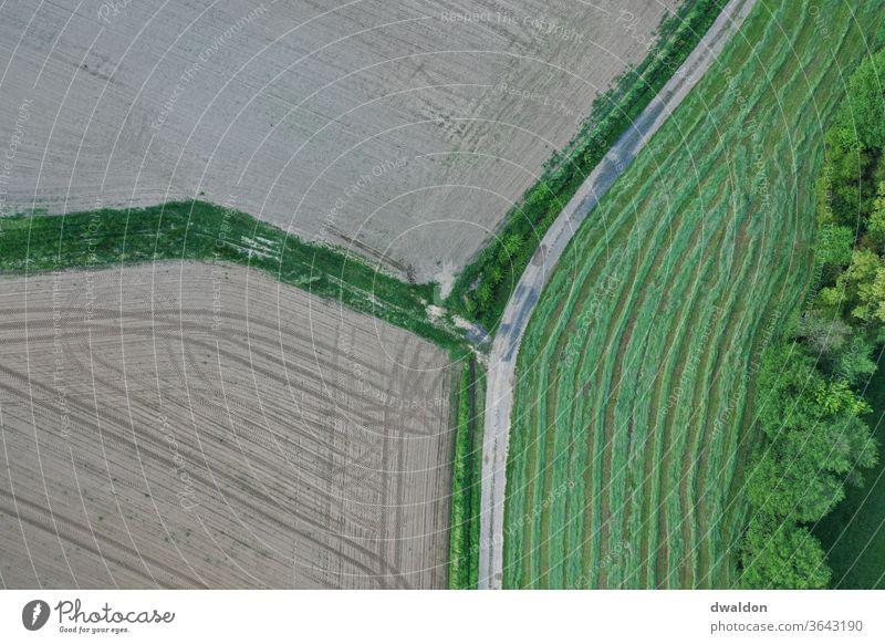 Landwirtschaft von oben Dröhnen Ackerbau Feld Bauernhof grün braun Natur ländlich landwirtschaftlich Landschaft Pflanze Sommer Ernte natürlich Wiese Gras