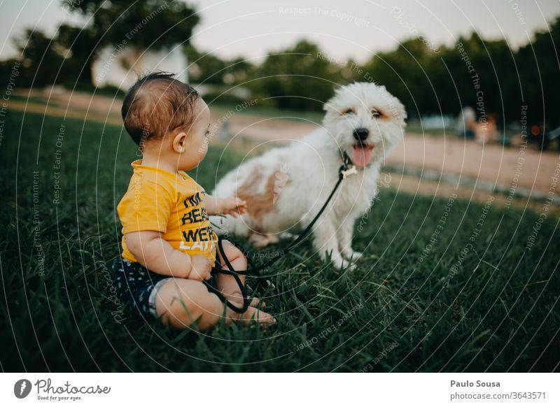 Baby und Hund im Park Zusammensein Zusammengehörigkeitsgefühl Haustier Freundschaft Freunde Lifestyle Kaukasier Liebe schön jung Lächeln niedlich Glück Garten