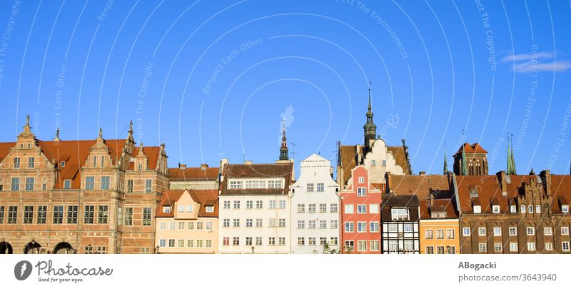 Stadtsilhouette von Danzig Panorama in Polen Appartement Architektur Anziehungskraft Gebäude Großstadt klassisch Kultur danzig dekorativ Europa Außenseite