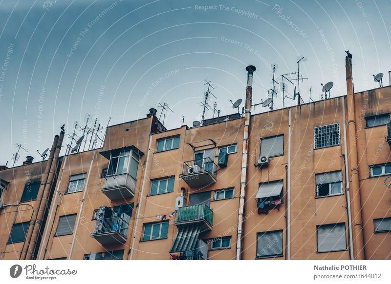 Gebäude in den Vorstädten von Rom alt Großstadt Antennen Farbfoto Haus Hauptstadt Außenaufnahme Altbau Fassade Architektur Fenster populaire beliebt Vororte