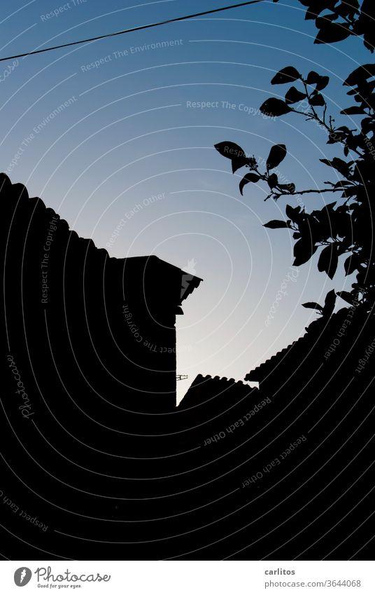 Dunkel war`s, der Mond .....  hatte wohl frei Nacht dunkel Dunkelheit Schatten Schattenriss Umriss Dächer Häuser Baum Silhouette Ziegel Licht Menschenleer