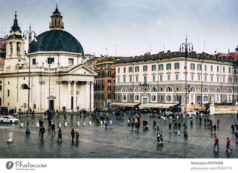 Place del popolo in Rom Ort del popolo Italien Außenaufnahme Architektur historisch Tourismus Ferien & Urlaub & Reisen Sehenswürdigkeit Farbfoto Hauptstadt