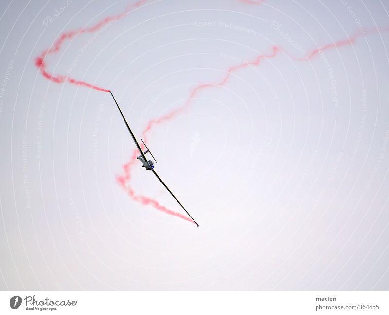 ganz leise weiß rot schwarz fliegen Verkehr Luftverkehr Flugzeug Fahrzeug Leichtigkeit Segelflugzeug