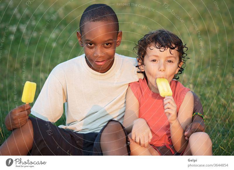 Ein paar Freunde Afrikanisch Appetit & Hunger Hintergrund schwarz Junge Kaukasier Kind Kinder übersichtlich kalt Konzept konzeptionell Sahne lecker Dessert