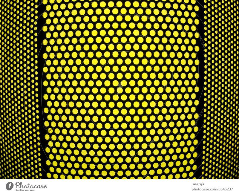 Schwarzes Lochblech auf gelb schwarz Symmetrie Grafik u. Illustration rund viele Hintergrundbild Muster Strukturen & Formen