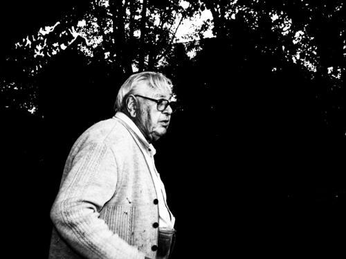 Der Garten ist gerichtet, die Arbeitsjacke kommt an den Haken, der alte Mann wird sich nun seine Haare kämmen und den Feierabend genießen Bäume Büsche Brille
