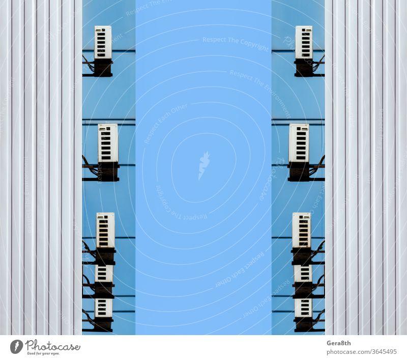 identische Wände eines Bürogebäude-Unternehmens abstrakt Klimaanlage Architektur Hintergrund blau Gebäude Business Großstadt Konzept Konstruktion Design digital