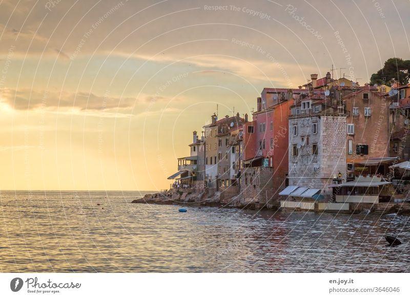 Altstadt direkt am Meer im Lichte des Sonnenuntergangs am Horizont Rovinj Kroatien Istrien Europa Sonnentuntergang Abend gelb Orange Halbinsel Felsen Küste