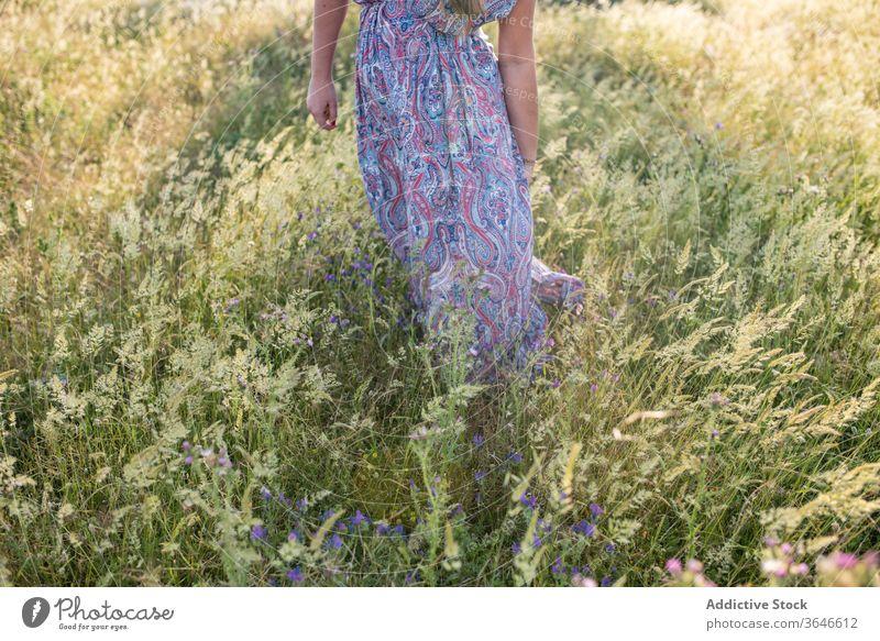 Anonyme Frau auf der grünen Wiese Sommer Feld genießen Kleid sonnig Natur heiter Urlaub trendy stehen Freiheit Wochenende tagsüber Freude sorgenfrei ruhen Dame